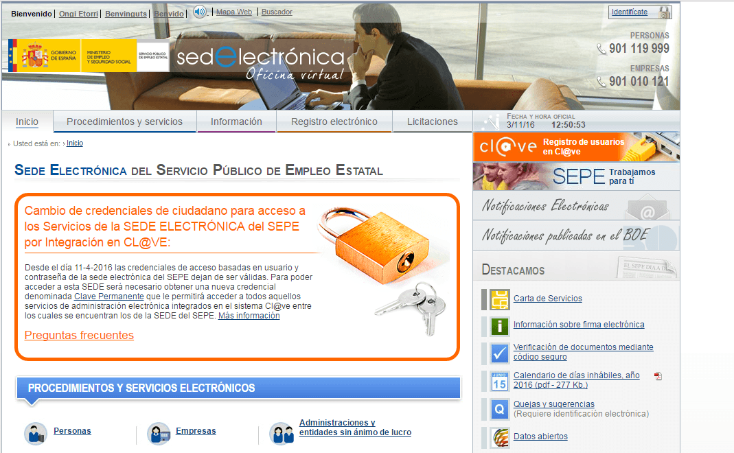 Oficina virtual de empleo sepe for Sellar paro con certificado digital